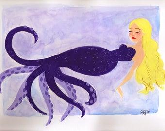 "Octopus Mermaid Painting - 9x12"" - Gouache"