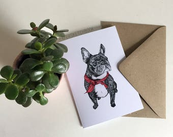 Roxy Dog French Bulldog Greetings Card/Notelet - A6 Handmade Greetings Card/Notelet, Blank Inside