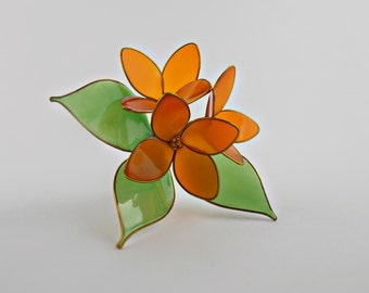 Hair pin,flowers with gold beads,accessories for women,kanzashi, orange and green,hair clip,golden jewelry,floral bobby pin,gift for her
