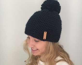 "Chunky knit hat Pom pom hat Color - Navy ""Cary"" hat Soft and Warm"