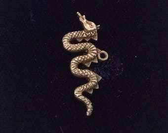 Sterling silver fire breathing serpent dragon charm vintage # 1111