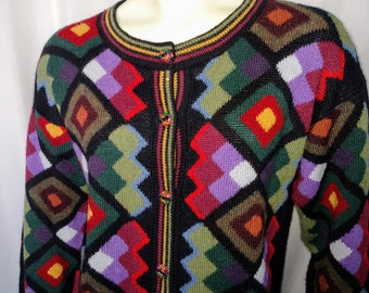 30% OFF Vintage Knit Cardigan/ Size L Cardigan/Multicolor Womens Sweater/90's Cardigan/Womens Knit Blazer/Soft Winter Cardigan/Nr.269