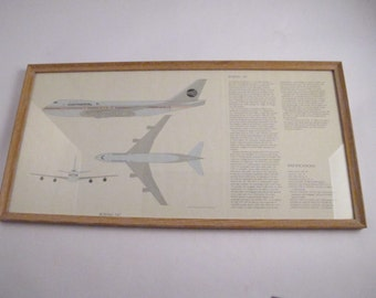 Vintage Milestones of Flight Professionally Framed Lithograph Of Famed Boeing 747