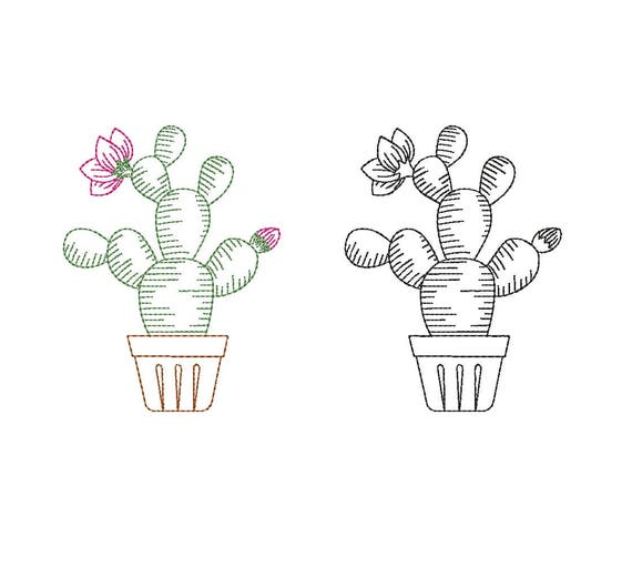 Redwork and colourwork cactus machine embroidery designs