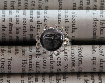Ring cabochon silver Raven