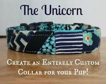 "CUSTOM Personalized Dog Collar  ""The Unicorn"""