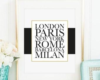 Poster, Print, Wallart: City Poster - London, Paris, New York, Rome, Barcelona, Milan