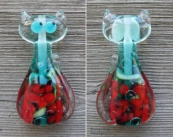 Cat XL with 3D inside flowers lampwork bead