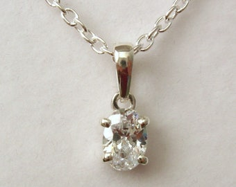 Genuine SOLID 925 STERLING SILVER April Birthstone Cubic Zirconia Cz Pendant