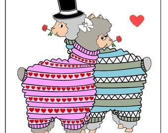 Alpaca Wedding A4 Print