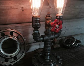 Table Pipe Lamp, Steampunk Vintage Edison Lighting.