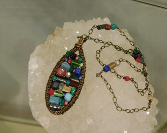 Wire Wrapped Multicolor Oval Pendant Necklace