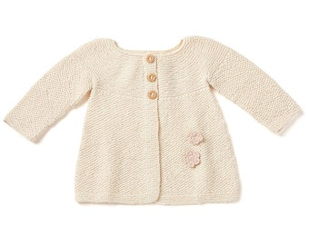 Baby Girl Sweater Organic Cotton Flower Long Sleeves Hand-Knitted
