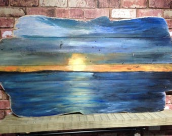 unique sunset art on reclaimed wood, driftwood effect