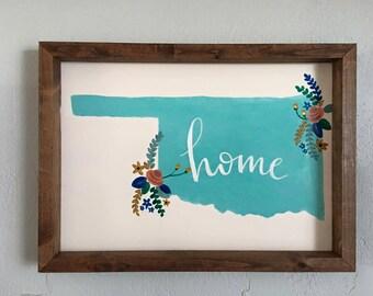 Oklahoma Wood Framed Sign- Blue