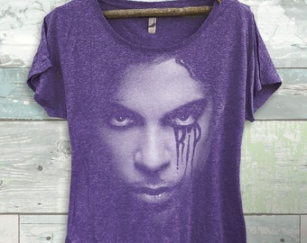 Prince Inspired Tribute Crying RIP Dolman T-shirt- Shirt-Tee-Graphic