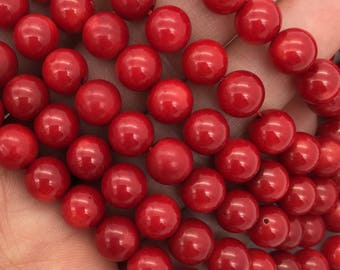 1Full Strand 7.5mm Red Coral Round Beads, Wholesale Coral Beads For Jewelry Making