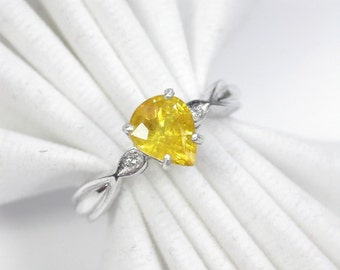 Wedding ring yellow sapphire ring silver sterling.