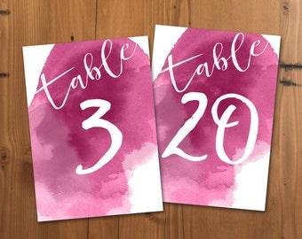 Fuschia Watercolor Table Numbers, Printable Table Numbers, 5x7 Jewel Tone Wedding Table Numbers