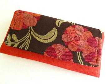 Red clutch purse - flower clutch - fabric purses - foldover clutch - handmade handbags - evening clutch - spring purse - floral handbag
