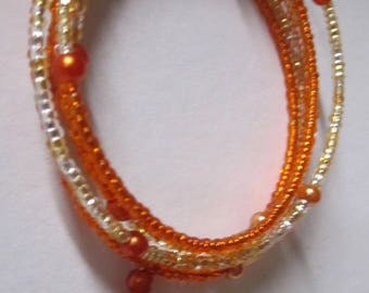 SET 32B - Golds & Orange Beads with Amber Sea Glass