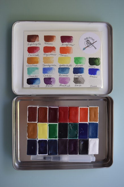 Complete watercolor handmade paint kit set of 24 whole pans of complete watercolor handmade paint kit set of 24 whole pans of our non toxic watercolour paint kit comes with tin and waterbrush sciox Gallery