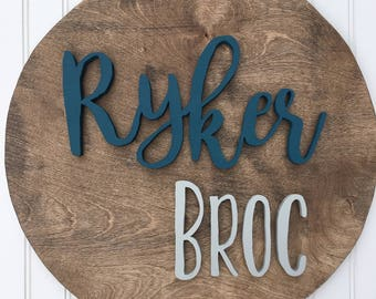 18 Inch Round Custom Name Sign  Nursery name Sign   Wood cut out   Name cut out   Nursery decor  Wood baby name   Wall hanging   Personal