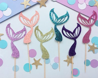 Mermaid Tail Cupcake Toppers | Mermaid Cupcake Toppers | Under The Sea Cupcake Toppers | Ocean Cupcake Toppers | Glitter Cupcake Toppers