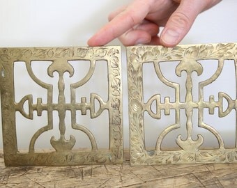 Pair of Matching Brass Trivets // Vintage Etched Brass Decorative Trivets