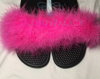 Pink Furry Slippers Etsy