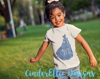 Cinderella Monogram Shirt; Princess Silhouette T-shirt; Disney glitter t-shirt;  Personalized Princess Shirt; Personalized Vacation Shirt