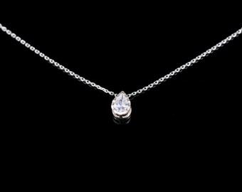 Elegant CZ necklace, Tiny necklace, Hammered CZ pendant necklace, cubic pendant necklace, Teardrop Necklace, Wedding,Cubic Zirconia Necklace