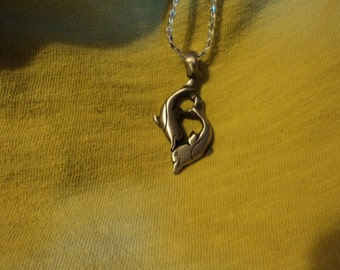 double dolphine pewter necklace