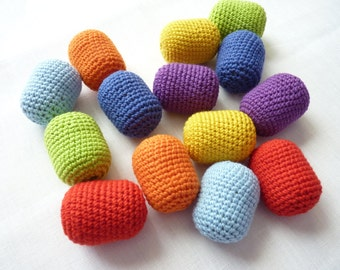 Crochet Montessori sensorial sound eggs/ Rainbow eggs rattles/ Montessori color toy/ sound sorting game/ Montessori sound cylinders/ Gift