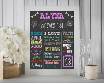 My Sweet 16 Chalkboard Sign 16x20