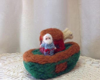 Tiny Felted Wool Noah's Ark by Elsa Jo Ellison