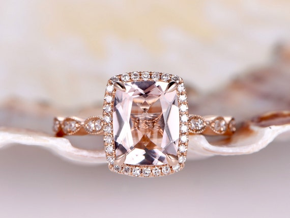 Pink Morganite Engagemrnt Ring Natural Morganite Ring 7x9mm Cushion Cut Gemstone Diamond Wedding Band Milgrain Style Solid 14k Rose gold