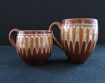 A pair of glazed Turkish ceramic mugs-cups