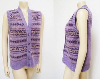 Vintage Boho Vest, UK14, Wool, Purple Vest, Purple Tank, Wool, Wool Vest, Vintage Clothing, Festival Clothing, Boho, Hippie, Hippy, Knit