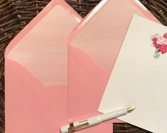 Ombre Pink Rifle Paper Co. Lined Blossom Pink A7 Paper Source Envelopes- set of 12