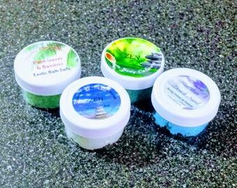 2 oz sample size exotic bath salts organic bath salts trial size bath salts travel size bath salts