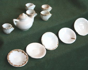 Antique Miniature White China w/ Gold Trim
