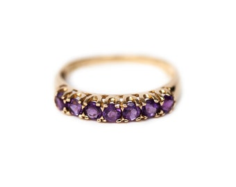 Amethyst Ring, 10K Yellow Gold Ring, Amethyst Band, Amethyst, Lavender Stones, Purple Stones