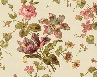 By The HALF YARD - Isabella by Erin Studios of Penny Rose Fabrics for Riley Blake, Pattern #C4690 Floral Cream, Reproduction Print