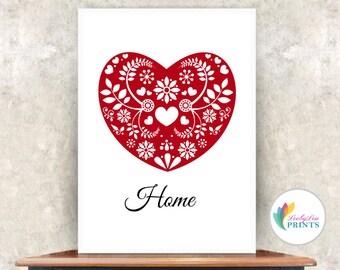 Home Heart Print  (red) - Scandinavian Style - Home Print - Heart Print