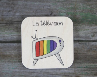 "Pictogram ""télévision"", wooden - Daily Routine - 3 to 5 years"