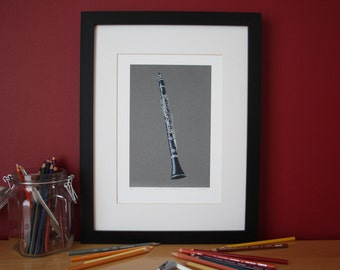 Buffet R13 B Flat Clarinet pencil crayon glicee print, illustrated by Steve Barker. Designed and printed in the UK