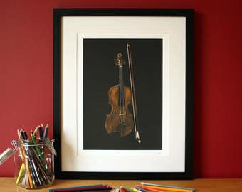 Violin pencil crayon glicee print, illustrated by Steve Barker. Designed and printed in the UK