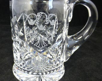 Eagle Lead Crystal Hand-cut beer Glass / Tankard - Eagle and Crown  – half pint - high quality – real ale or eagle gift
