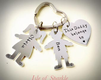 Hand stamped this daddy belongs to keyring keychain for Daddy Grandad papa grampa  for Father's Day with boy and girl silhouette shapes